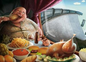 Толстый мужчина ест