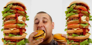Гамбургеры и мужчина