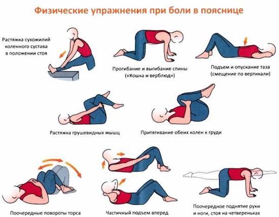 список упражнений для поясницы
